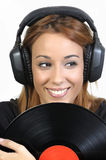 Pretty girl with vinyl disc Royalty Free Stock Image