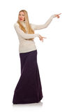 Pretty girl in violet long dress on white Royalty Free Stock Image