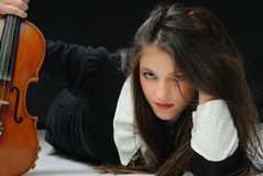 Pretty girl with violin Stock Image
