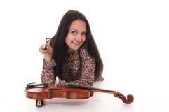 pretty girl and violin Stock Photo