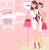Pretty girl waiting for taxi. Pretty girls after happy shopping stock illustration