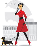 Pretty girl walking the dog. Elegant  girl with her fashionable little puppy Stock Image