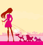Pretty girl walking the dogs. Illustration