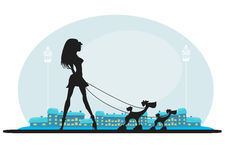 Pretty girl walking the dogs Royalty Free Stock Photos