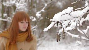 Pretty Girl Walking In Winter Forest stock footage