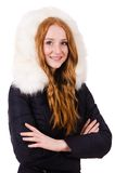 Pretty girl in warm clos isolated on white Stock Photo
