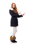 Pretty girl in warm clothes isolated on white Stock Photos