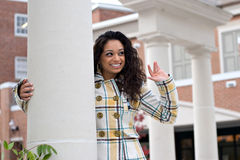 Pretty Girl Waving Stock Photo