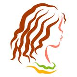 Pretty girl with wavy brown hair, profile vector illustration