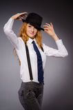 Pretty girl wearing black and white clothing Stock Photography