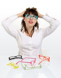 Pretty girl wearing colored glasses Royalty Free Stock Photos