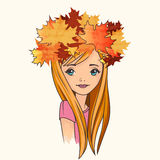 Pretty girl wearing crown of fallen leaves Royalty Free Stock Images