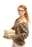 Pretty girl wearing glasses with books Stock Photography