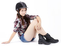Pretty girl  wearing helmet for showjumping Stock Photography