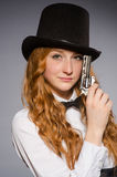 Pretty girl wearing retro hat Stock Photography