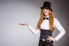 Pretty girl wearing retro hat Stock Photos