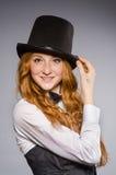 Pretty girl wearing retro hat Royalty Free Stock Photo