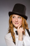Pretty girl wearing retro hat Stock Photo
