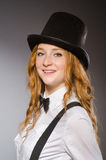 Pretty girl wearing retro hat isolated on gray Royalty Free Stock Image