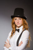 Pretty girl wearing retro hat isolated on gray Royalty Free Stock Photo