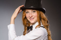 Pretty girl wearing retro hat isolated on gray Stock Image
