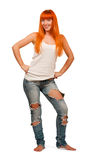 Pretty girl wearing ripped jeans stock image