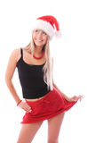 Pretty girl wearing Santa's hat Stock Image