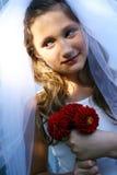 Pretty girl wearing wedding dress Stock Photos