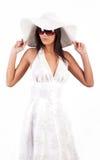 Pretty girl wearing white dress Stock Photo