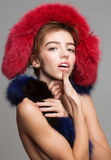 Pretty girl wears fur stole Royalty Free Stock Image