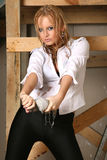 Pretty girl in a wet vest Stock Photography