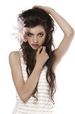 Pretty girl on white Stock Images