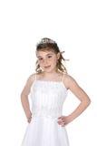 Pretty girl in white beaded dress and tiara Stock Photo