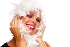 Pretty Girl with White Boa Royalty Free Stock Images