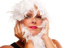 Pretty Girl with White Boa Stock Image