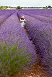Pretty girl in white dress sitting in floral field of lavender, Stock Photo