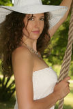 Pretty Girl in White Hat Royalty Free Stock Image