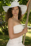 Pretty Girl in White Hat Royalty Free Stock Images