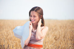 Pretty girl with white panama at wheat field Royalty Free Stock Photo
