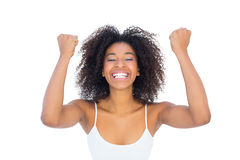 Pretty girl in white top cheering at camera Stock Photography