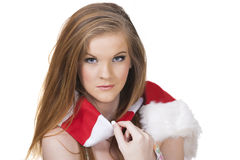 Pretty girl wih christmas scarf Stock Images