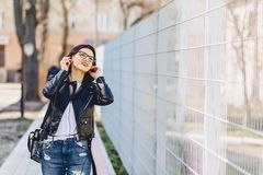 pretty girl wild listening music in headphones royalty free stock photography