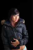 Pretty Girl in Winter Coat Stock Images