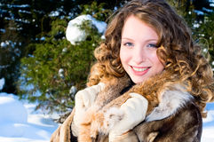 Pretty girl in winter forest Stock Image