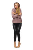 Pretty girl in winter jacket isolated on white Stock Photography