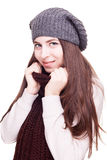 Pretty girl in winter outfit isolated on white background Royalty Free Stock Photos