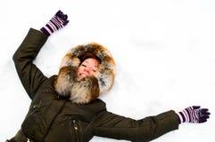 Pretty girl in winter park Stock Photos