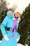 Pretty girl in winter park Royalty Free Stock Photo