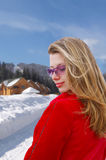 Pretty girl on winter scenic Stock Image