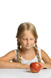 The pretty girl wishes to eat an apple Stock Photo